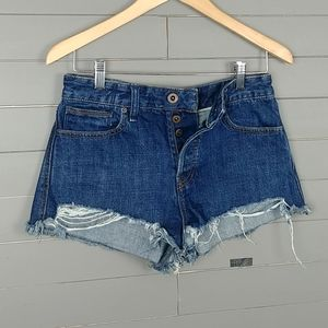 Free People High Rise Jeans Shorts Button Fly
